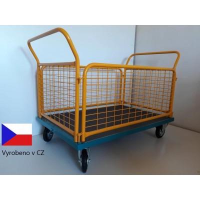 Plošinový vozík s 4mi drátěnými bočnicemi, 0,5t